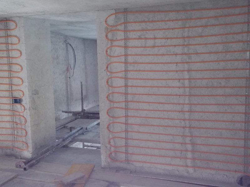 Impianto di riscaldamento radiante a parete sotto intonaco